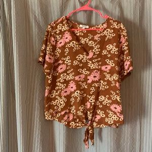 Madewell floral top with tie waist